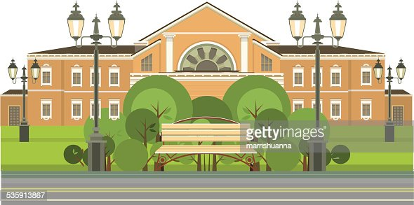 benches for rest in the green zone : Vector Art