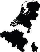 vector illustration of Benelux maps