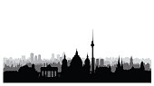 Berlin city buildings silhouette. German urban landscape. Berlin cityscape with landmarks. Travel Germany skyline background.