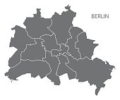 Berlin city map with boroughs grey illustration silhouette shape