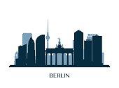 Berlin skyline, monochrome silhouette. Vector illustration.