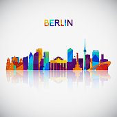 Berlin skyline silhouette in colorful geometric style. Symbol for your design. Vector illustration.