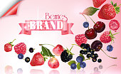 Vector fruit banner with mix of falling berries on pink background with ribbon. Design for natural cosmetics, yogurt, dessert menu, sweets and pastries filled with berries, health care products.