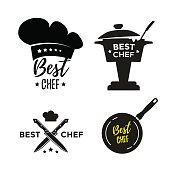 Best chef set of design icons or labels. Award cooking. Vector illustration