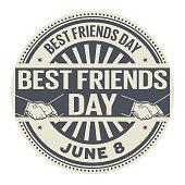 Best Friends Day, June 8, rubber stamp, vector Illustration