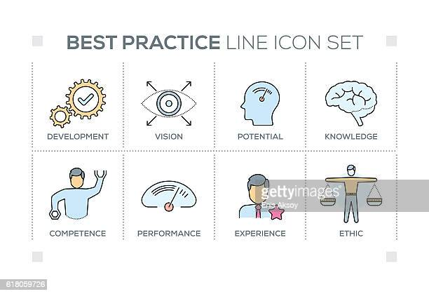 Best Practice keywords with line icons
