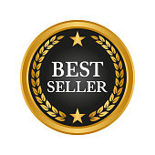Best seller label on white background. Vector illustration