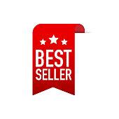 Best seller Red Label. Red Web Ribbon. Vector stock illustration.