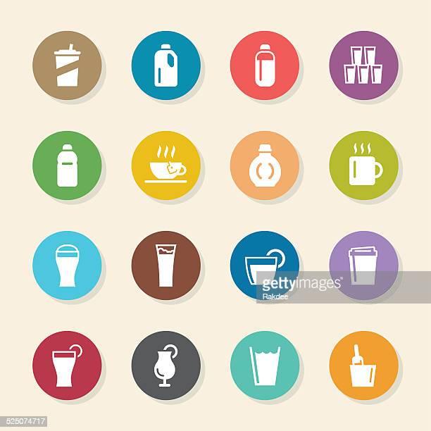 Beverage Icons Set 4 - Color Circle Series