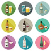 Drinks and beverages icons. Bottles of alcoholic beverages with mugs and glasses.