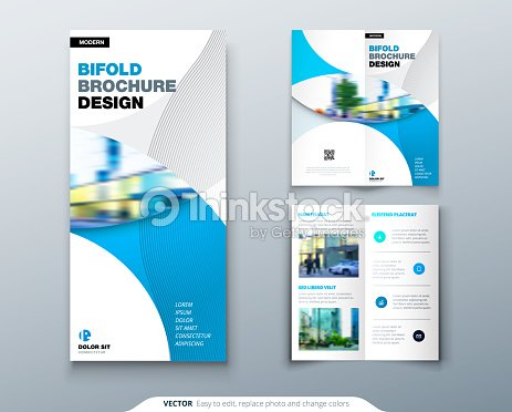 bi fold brochure or flyer design with circle creative concept flyer