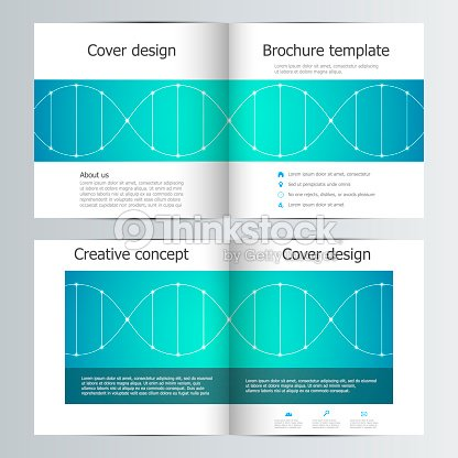 Bi Fold Square Brochure Template With Dna Molecule Background Vector Art