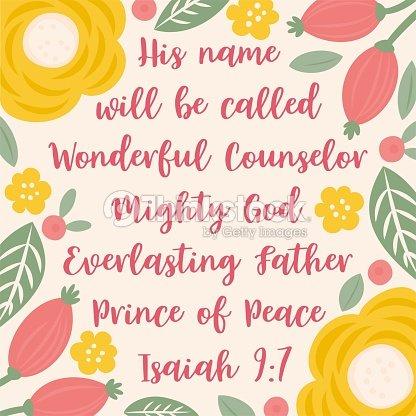 Bibel Zitat Aus Jesaja über Jesus Zu Weihnachten Urlaub Mit Floralen ...
