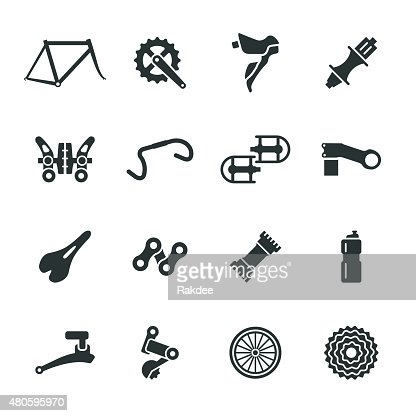 Bicycle Parts Silhouette Icons Set 1 : Vector Art