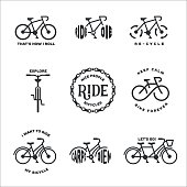 Bicycle related typography set. Motivational quotes about cycling. Minimalistic style design elements for posters, prints and decoration. Vector vintage illustration.