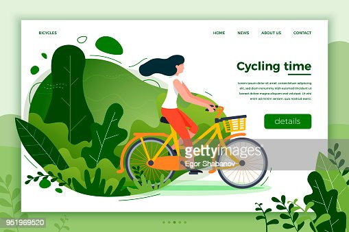 Bicycle riding girl. Park, forest, trees and hills : Vector Art