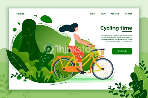 Bicycle riding girl. Park, forest, trees and hills : stock vector