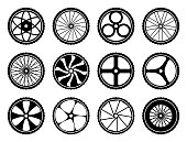 Bicycle wheels set with tires and spokes. Bike icons component. Vector illustration isolated on white background