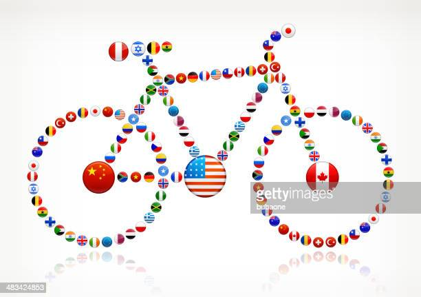 Bicycle World Flags royalty free graphic