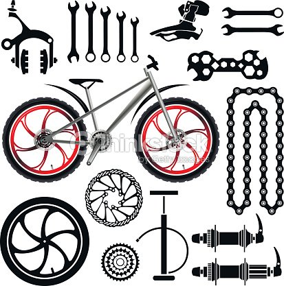 Bicycles A Set Of Bicycle Parts Vector Vector Art Thinkstock