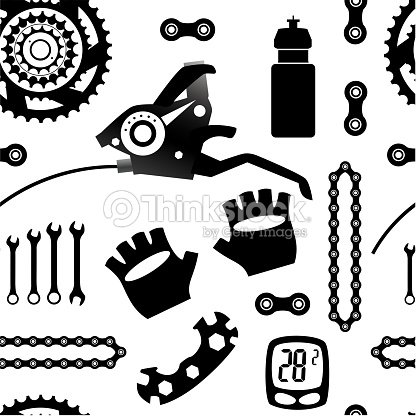 Bicycles Seamless Vector Pattern With Bicycle Parts Vector Art