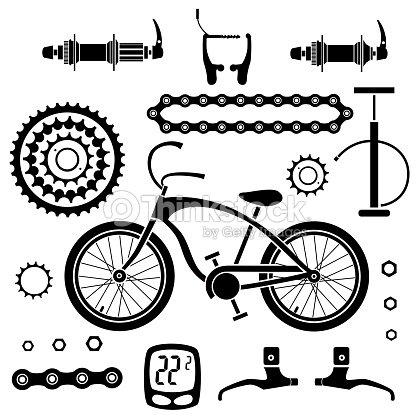 Bicycles Set Of Isolated Bicycle Parts Vector Image Stock Vector