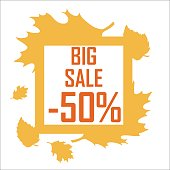 Banner of an autumn discount surrounded by yellow leaves on a white background. Sale in autumn, big discount