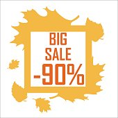 Icon of an autumn discount surrounded by yellow leaves on a white background. Sale in autumn, big discount