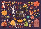 Welcome autumn big set of cute cartoony animals, insects, plants and food. Flat vector illustration of dark purple background.