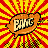 Big bang retro sign template. Heart speech bubble. Vintage comics illustration concept. Bomb explosion cartoon background