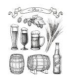 Beer set. Vector illustration of glasses and mug, hops, malt, barrels and bottle. Isolated on white background.