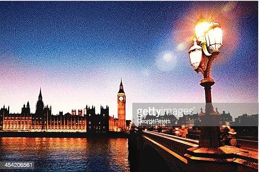 Big Ben And Westminster Bridge : Vector Art