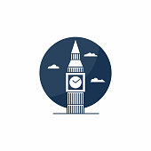 Big Ben tower icon. English school symbol concept. English class, academy icon. Vector