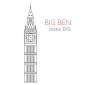 Big Ben Tower, London. Line vector illustration.