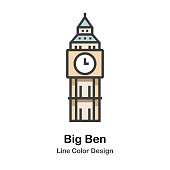 Big Ben the clock tower line color icon