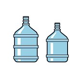 Big bottles with clean water. Flat icons. Plastic container for the cooler. Isolated on white background. Vector illustration