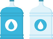 Big bottles with water, flat style, vector eps10 illustration