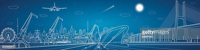 Big bridge, industrial cargo port panorama : Vector Art