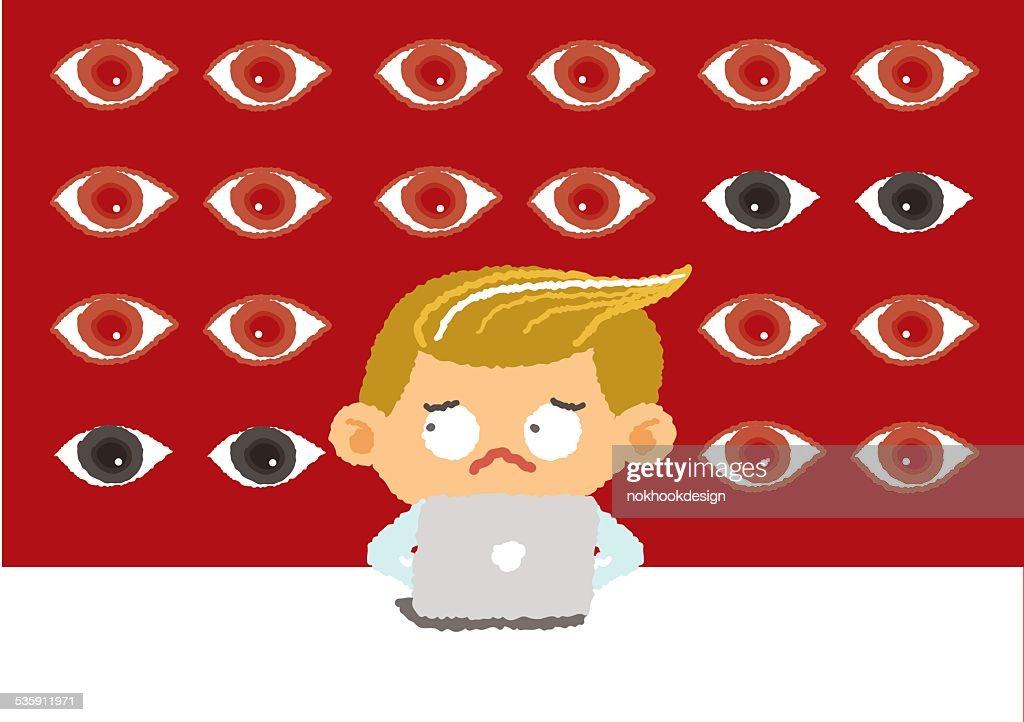 big brother conceito de internet de segurança e de segurança, Ilustração vetorial : Arte vetorial