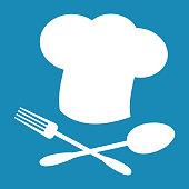 Big chef hat. Foods Service icon. Menu card. Simple flat vector illustration, EPS 10.