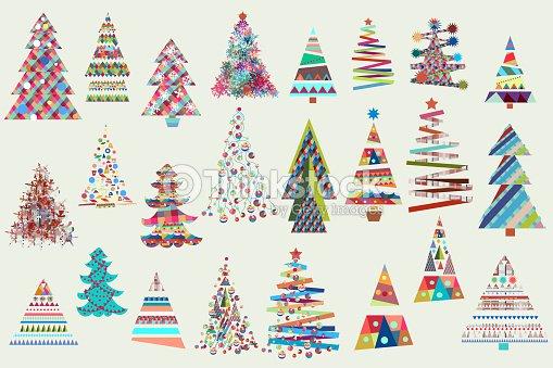 Gran Colección De Navidad De Vector Navidad árboles En Colores Funky ...
