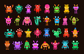 Big collection cartoon funny monsters. Vector illustration