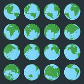 Big collection of planet Earth in comic book style with polka dot and stripped texture in green and blue colors