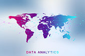 Big data analytics and business intelligence. Digital analytics concept with graph and charts. Financial schedule World Map infographic. Vector illustration