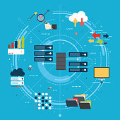Network server of computers and business intelligence.Database security system. Backup data traffic analysis. Big Data and cloud computing banner concept with icons in flat design vector illustration.