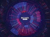 Big data connection structure. Abstract element with lines, dots and binary code. Big data visualization. Futuristic infographic vector illustration.