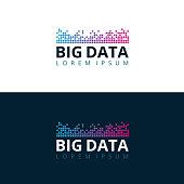 Big Data mosaic logo design concept. Vector illustration