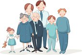 Big family with grandparents, parents and children. EPS 10. No transparency. No gradients.