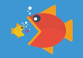 Big fish eat little fish. Flat style. Business Concept