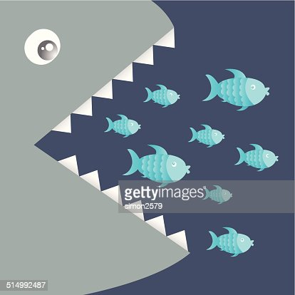 Big fish eat little fish vector art getty images for Big fish little fish